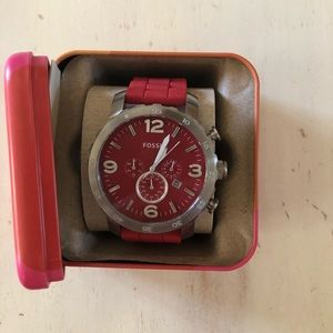 Red fossil watch with rubber band